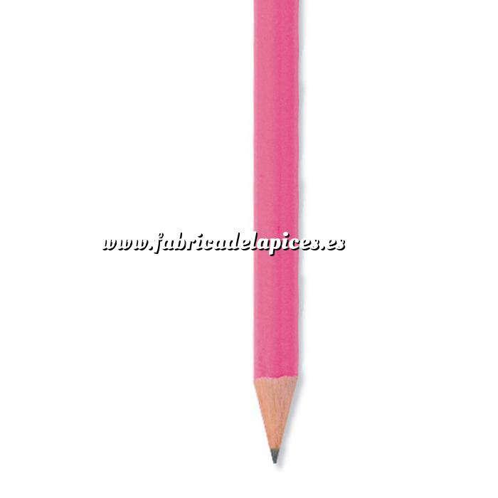 Imagen Redondo fluorescente goma Lápiz redondo de madera fluorescente rosa con goma