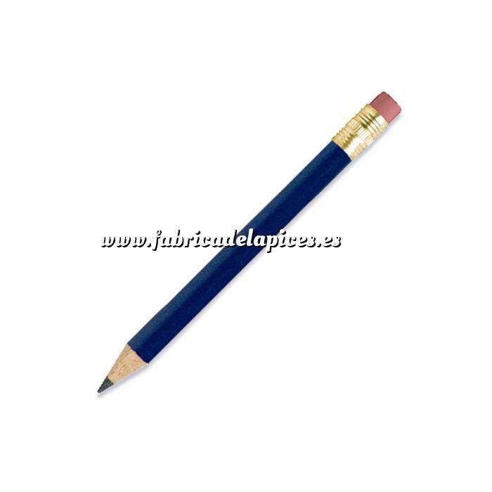 Imagen Redondo mini goma Lápiz pequeño redondo de madera color azul con goma