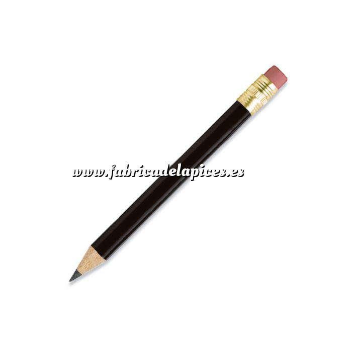 Imagen Redondo mini goma Lápiz pequeño redondo de madera color negro con goma