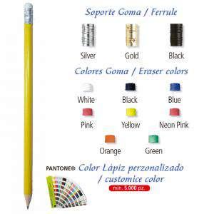 Imagen Redondo cedro con Goma Lápiz redondo de madera amarillo con goma