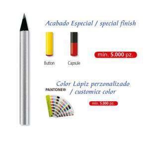 Redondo mini - Lápiz pequeño redondo de madera color plata