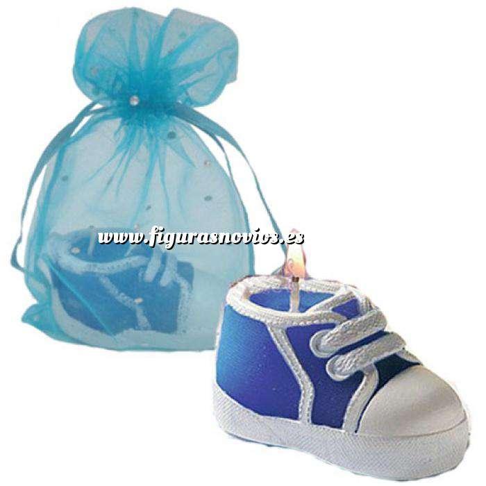 Imagen Detalles de Bautizo Vela Zapatilla en bolsa de organza azul (Últimas Unidades)
