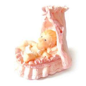 Detalles de Bautizo - Mini cuna rosa ceramica - niña bautizo (Últimas Unidades)