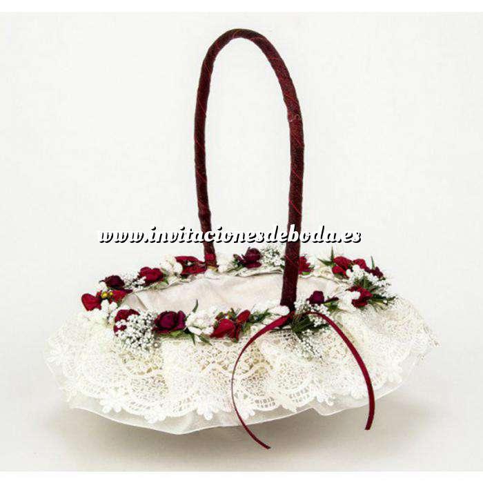 Imagen Cestas y Cojines Cestita Arras flores granate