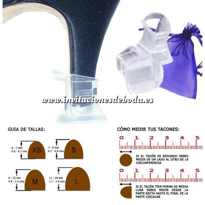 Imagen Protectores de Tacón Protector tacón CUADRADO L (1.1 cms - 1.4 cms) - Cubretacon (1 par)