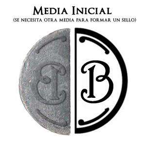 2 Iniciales Intercambiables - Placa Media Inicial B para sello vacío de lacre