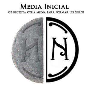 2 Iniciales Intercambiables - Placa Media Inicial N para sello vacío de lacre