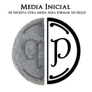 2 Iniciales Intercambiables - Placa Media Inicial P para sello vacío de lacre