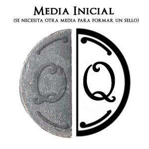 2 Iniciales Intercambiables - Placa Media Inicial Q para sello vacío de lacre