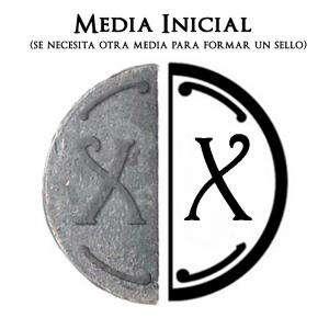 2 Iniciales Intercambiables - Placa Media Inicial X para sello vacío de lacre