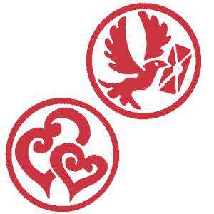 2 Iniciales Intercambiables - Placa para Sello vacío Corazón Doble Espiral/ Paloma (71202)