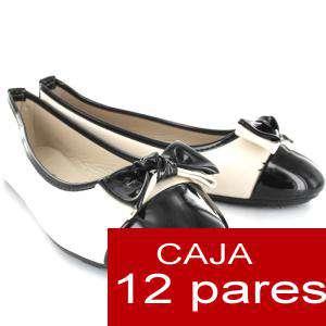 Alta Calidad - Manoletinas Charol con lazo BEIGE - Caja 12 pares (Últimas Unidades)