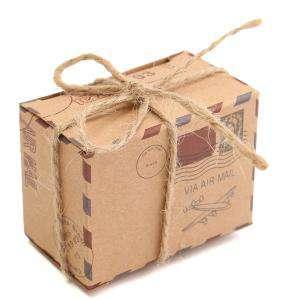 Cajitas para regalo - Cajita Boda viajeros - Postal antigua con cuerda incluida