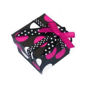 Cajitas para regalo - Cajita para anillos o regalitos - negra y lunares fucsia y blanco