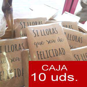 Imagen Detalles para la ceremonia Pañuelos en sobre kraft, con bolsita de celofan PACK DE 10 - Si lloras que sea de felicidad (CORAZÓN)
