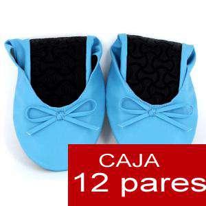 Enrollables/Plegables - Bailarinas Enrollables Modelo ESPECIAL - AZUL - Lote de 12 pares (OFERTA INVIERNO)