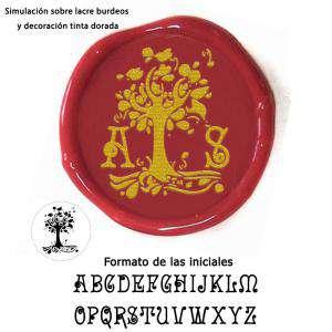 Personalizado con TU diseño - Sello Lacre 3 cms. árbol con iniciales