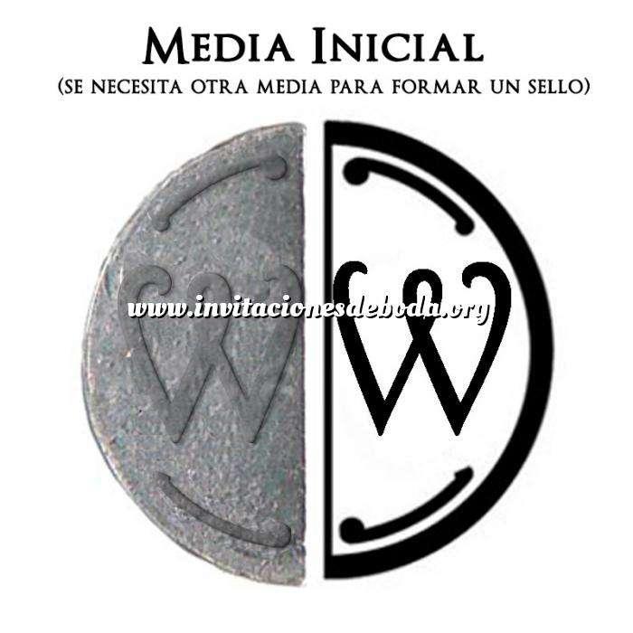 Imagen 2 Iniciales Intercambiables Placa Media Inicial W para sello vacío de lacre