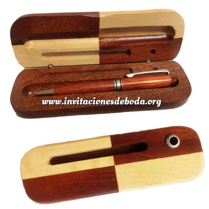 Imagen Boligrafos Bolígrafo imitacion madera Cerezo con caja de madera bicolor