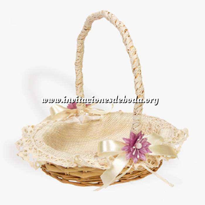 Imagen Cestas y Cojines Cestita Arras Beige con flor violeta