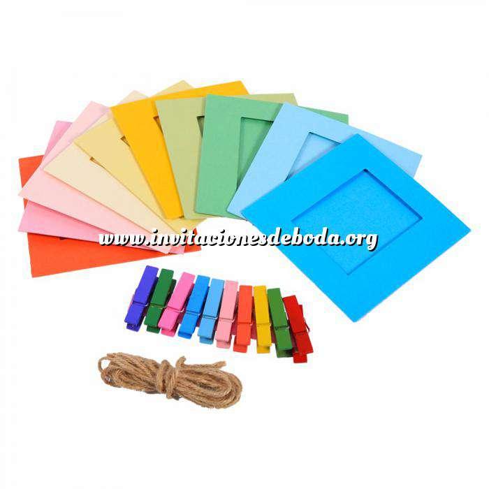 Imagen Detalles para la ceremonia Banderines rectangulares de cartulina para 10 fotos/letras/texto - Decoración evento