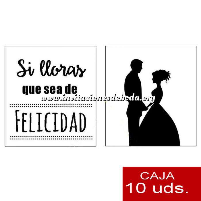 Imagen Detalles para la ceremonia Pañuelos en sobre kraft, con bolsita de celofan PACK DE 10 - Si lloras que sea de felicidad (SILUETA PAREJA)