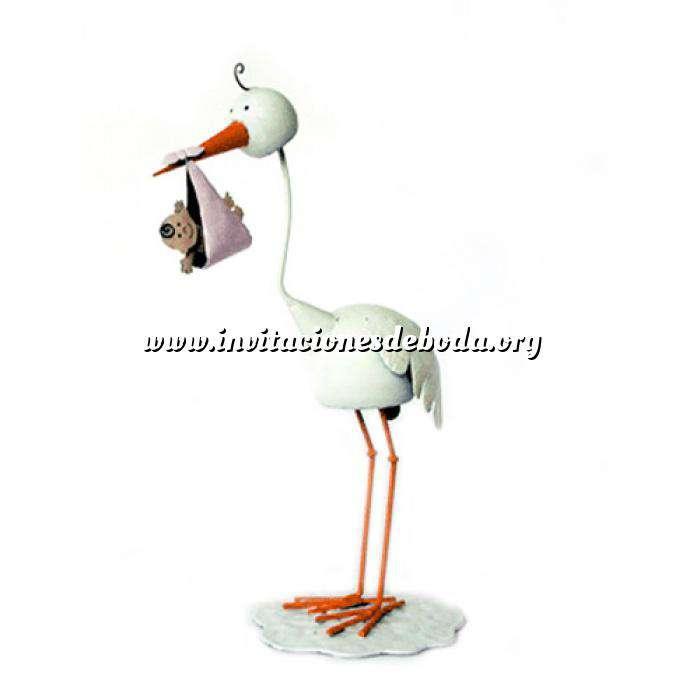 Imagen Figuras de Bautizo Figura Tarta Cigüeña metal ROSA