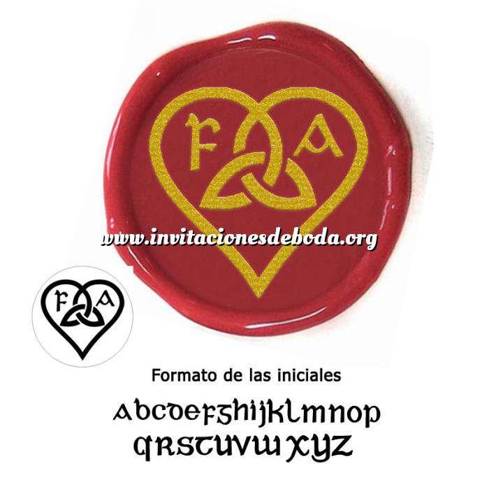 Imagen Personalizado con TU diseño Sello Lacre 2.5 cms. Corazón celta con iniciales