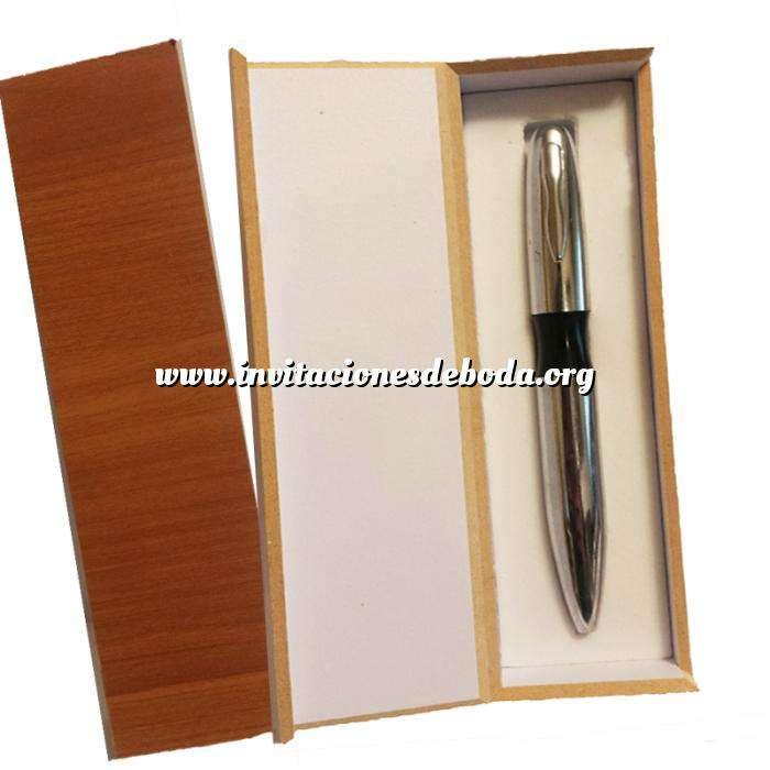 Imagen Prácticos mujer Bolígrafo plateado Mod. 3 con detalle negro y en caja de madera