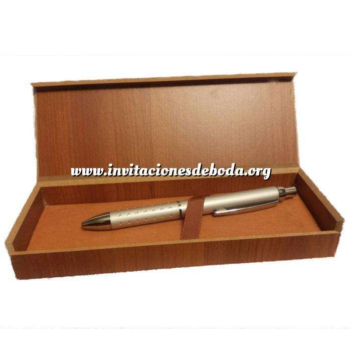 Imagen Prácticos mujer Bolígrafo plateado Mod. 5 en caja de madera