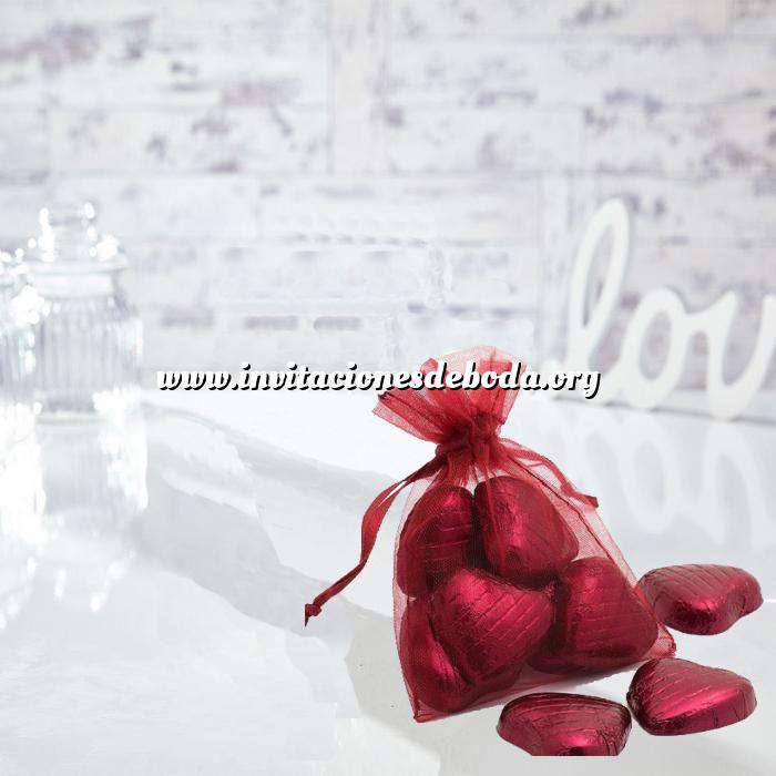 Imagen Tamaño 09x12 cms. Bolsa de organza Burdeos 9x12 capacidad 9x9 cms.