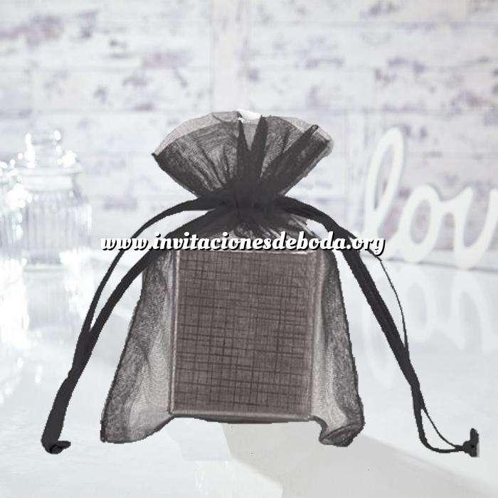 Imagen Tamaño 10x15 cms. Bolsa de organza negra 10x15 capacidad 10x12 cms.