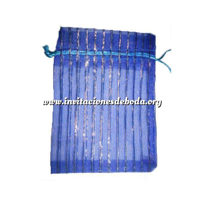 Imagen Tamaño 11x16 cms. Bolsa de Organza Estampada 11x16 cm - AZUL MARINO CON RAYAS PLATA (Últimas Unidades)