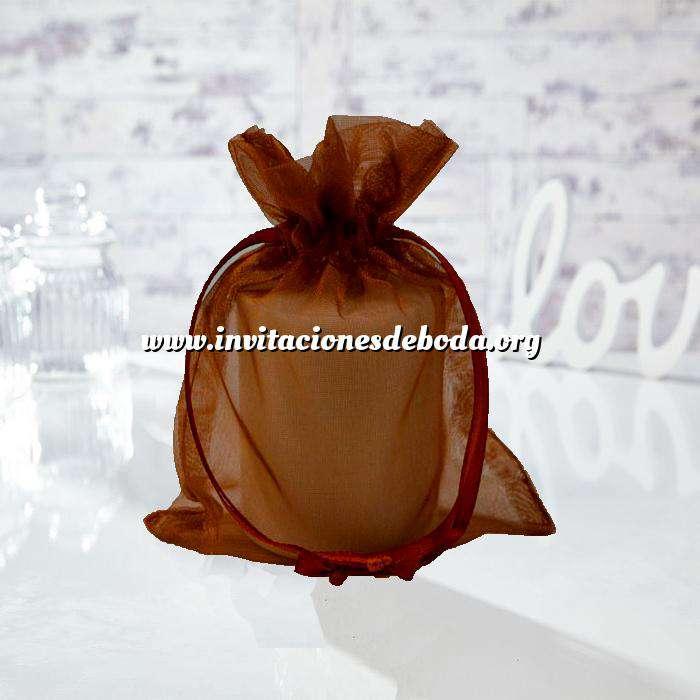 Imagen Tamaño 13.5x19 cms. Bolsa de organza Marrón 13.5x19 capacidad 13x17 cms. (Últimas Unidades)