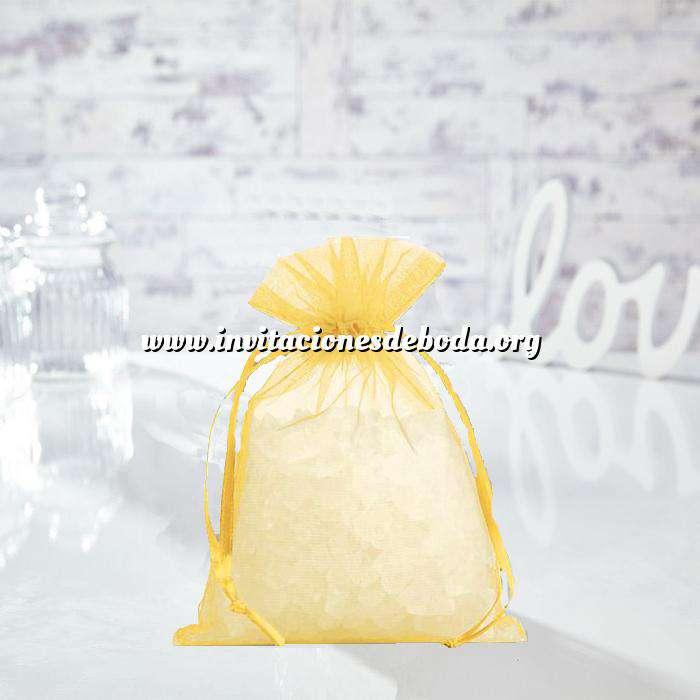 Imagen Tamaño 14x17 cms. Bolsa de organza Amarilla 14x17 capacidad 13x13 cms. (Últimas Unidades)