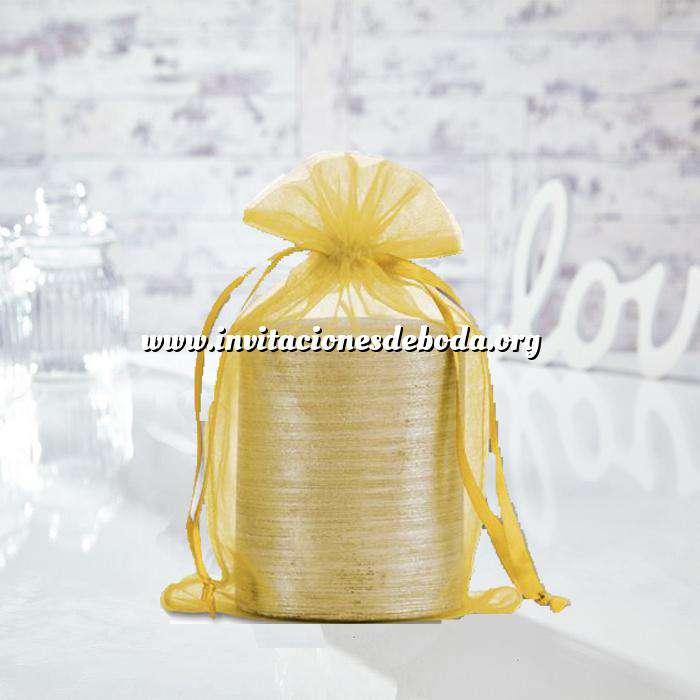 Imagen Tamaño 15.5x24 cms. Bolsa de organza Dorada 15,5x24 capacidad 15x20 cms.