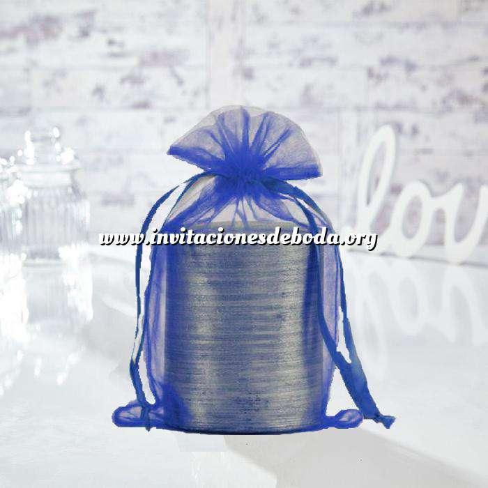 Imagen Tamaño 15.5x24 cms. Bolsa de organza Marino 15,5x24 capacidad 15x20 cms.