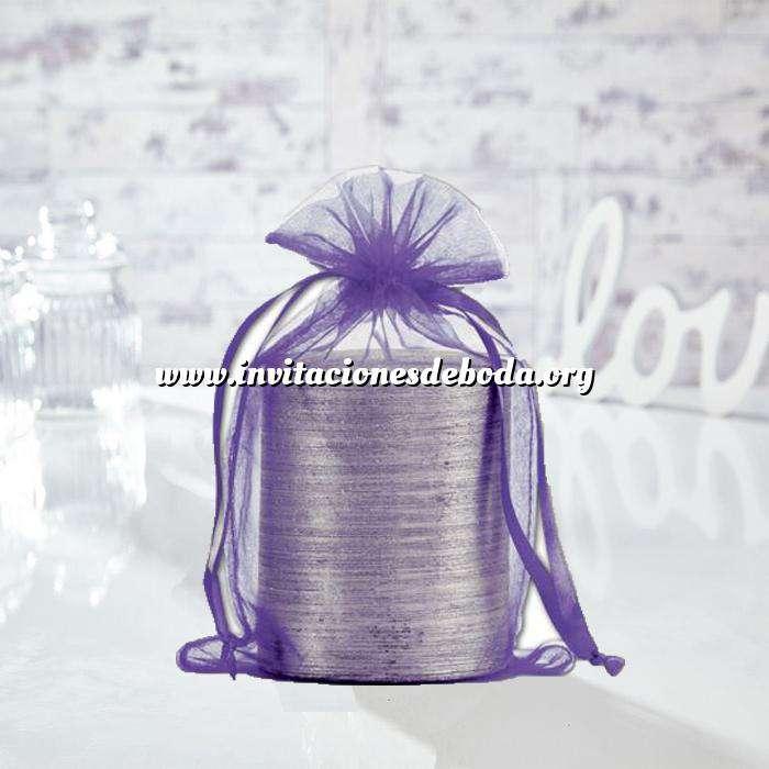 Imagen Tamaño 15.5x24 cms. Bolsa de organza Morada 15,5x24 capacidad 15x20 cms.