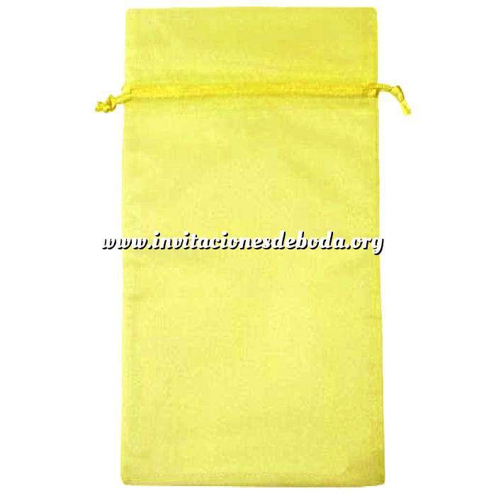 Imagen Tamaño 15x36 cms. Bolsa de organza Amarilla 15x36 capacidad 15x31 cms.