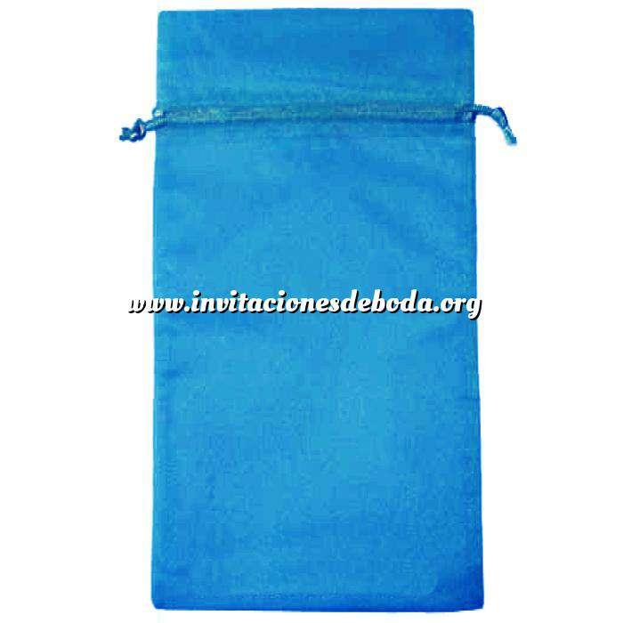 Imagen Tamaño 15x36 cms. Bolsa de organza Azul Francia 15x36 capacidad 15x31 cms.
