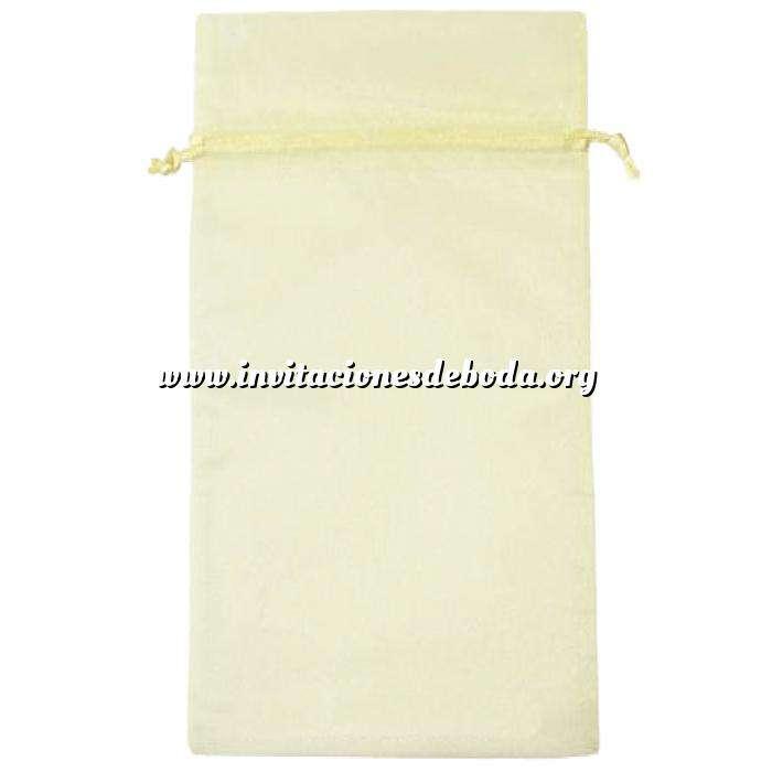 Imagen Tamaño 15x36 cms. Bolsa de organza Crema o Beige 15x36 capacidad 15x31 cms.