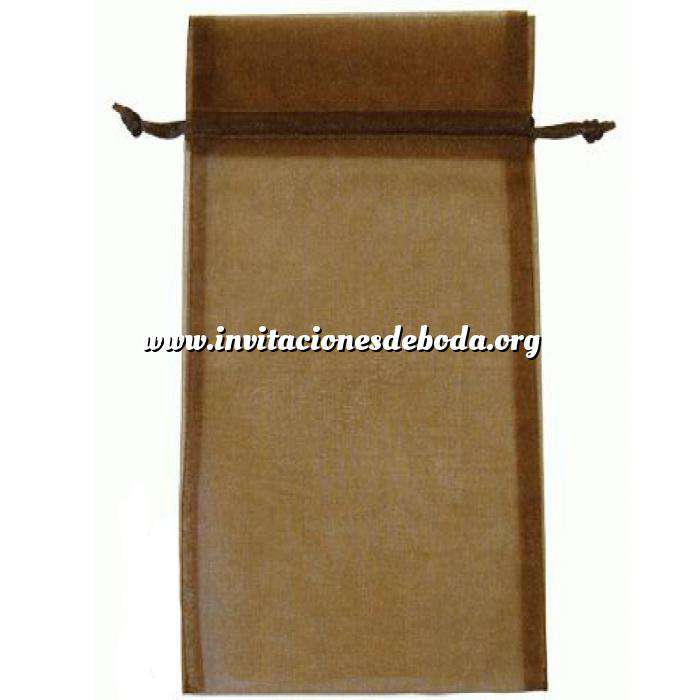 Imagen Tamaño 15x36 cms. Bolsa de organza Marrón 15x36 capacidad 15x31 cms.