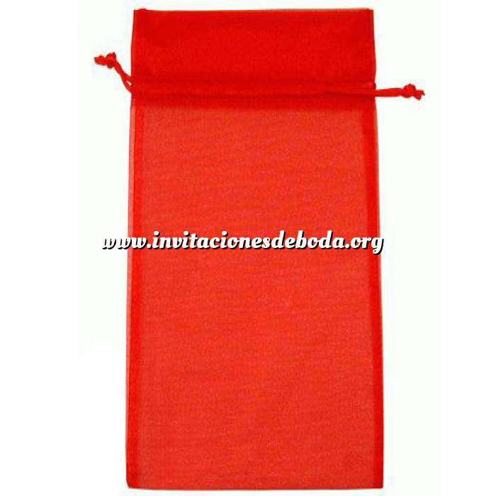 Imagen Tamaño 15x36 cms. Bolsa de organza Roja 15x36 capacidad 15x31 cms.