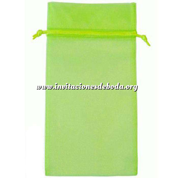 Imagen Tamaño 15x36 cms. Bolsa de organza Verde 15x36 capacidad 15x31 cms.
