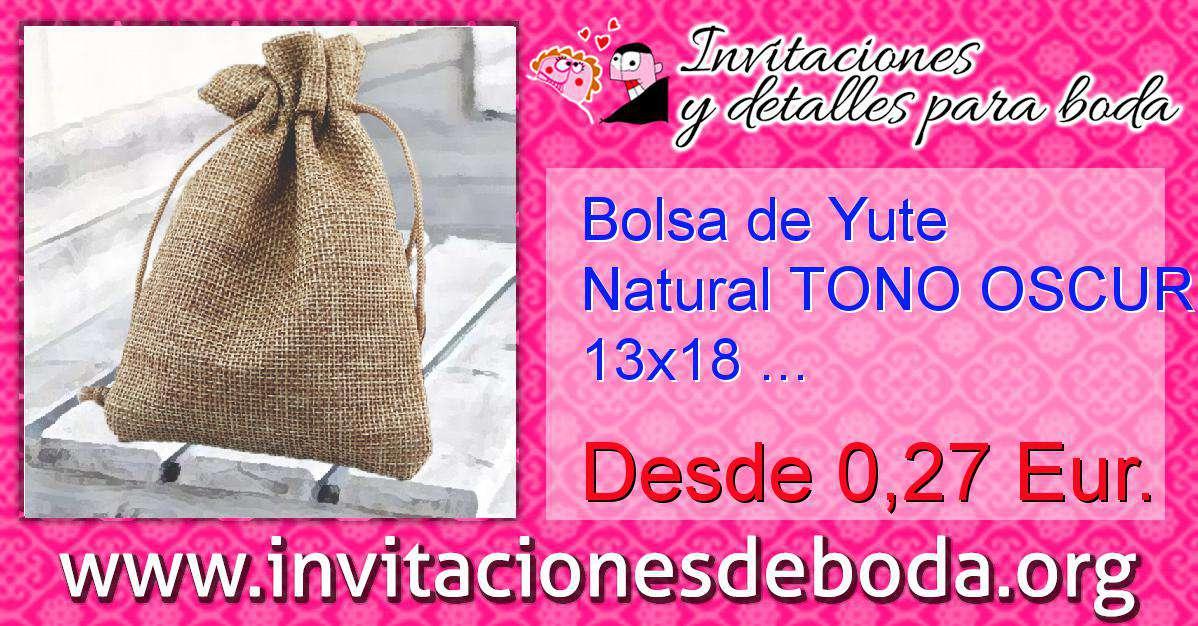6bee18226 Bolsa de Yute Natural TONO OSCURO 13x18 capacidad 12x15 cms. ...