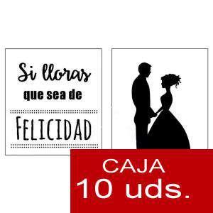 Detalles para la ceremonia - Pañuelos en sobre kraft, con bolsita de celofan PACK DE 10 - Si lloras que sea de felicidad (SILUETA PAREJA)