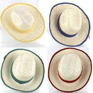 Detalles para la ceremonia - Sombrero Blanqueado con cinta y reborde Rojo/Verde/Amarillo Ref. 47991 - surtidos (Últimas Unidades)