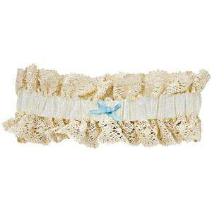 Especial Novias - liga novia beige con lacito azul