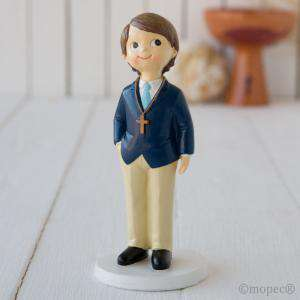 Figuras de Comunión - Figura Pastel NIÑo comunion americana azul