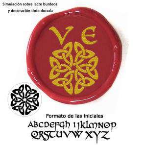 Personalizado con TU diseño - Sello Lacre 2.5 cms. Iniciales celtas